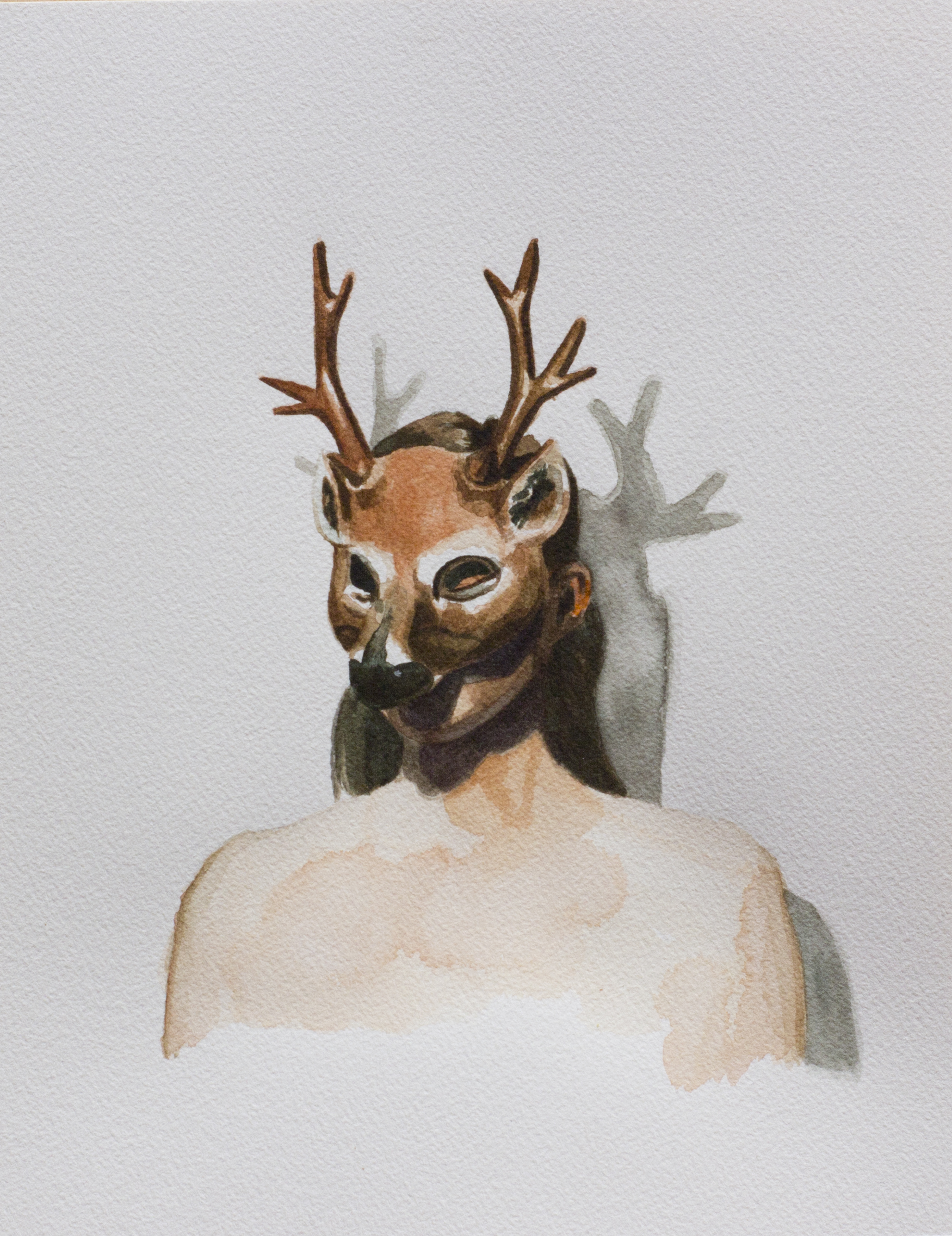 deer mask watercolour 1